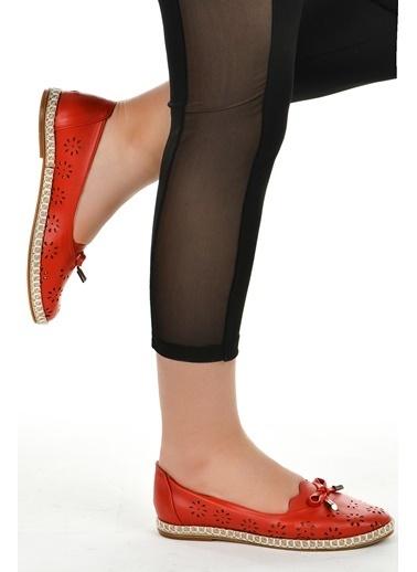 Ayakland Ayakland 139-45 Günlük Anatomik Bayan Babet Ayakkabı Kırmızı